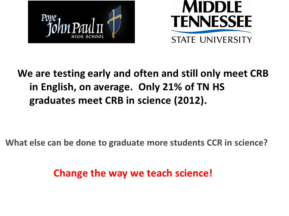 We are testing early and often and still only meet CRB in English, on average.