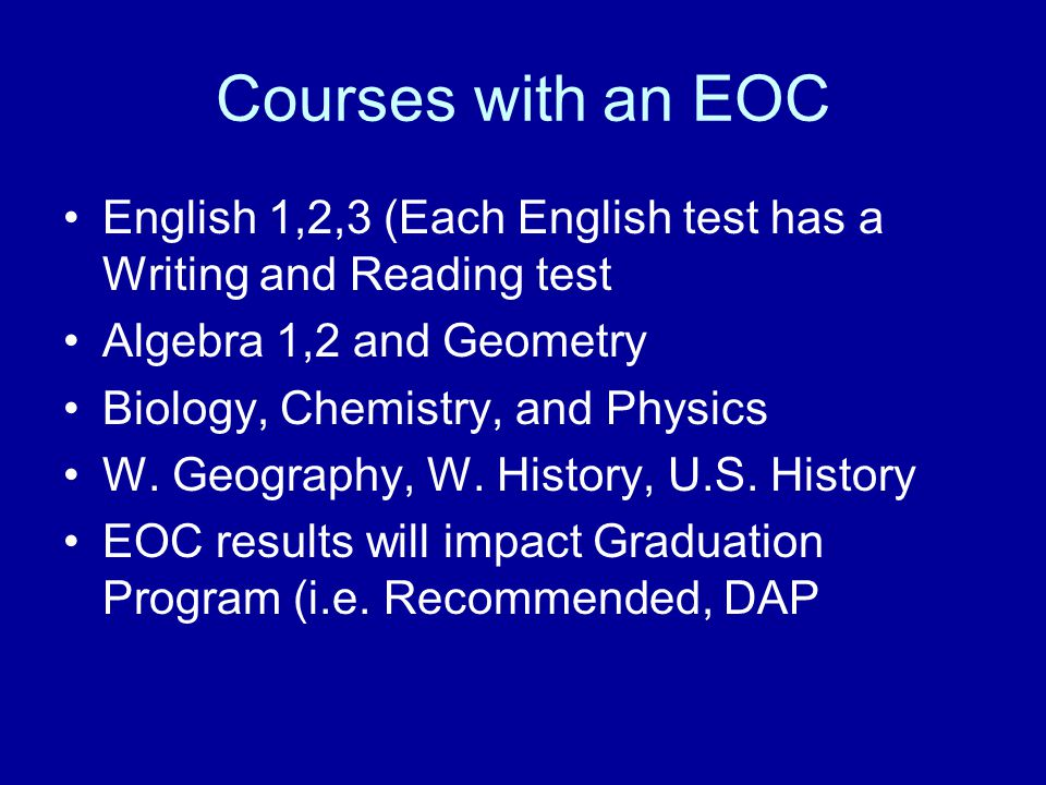 STAAR TEST In High School, the STAAR test consists of End-of-Course Exams To graduate and receive a Texas diploma a student must pass all required courses and pass the EOC where applicable To graduate on the Recommended Plan, students must pass 15 EOC's