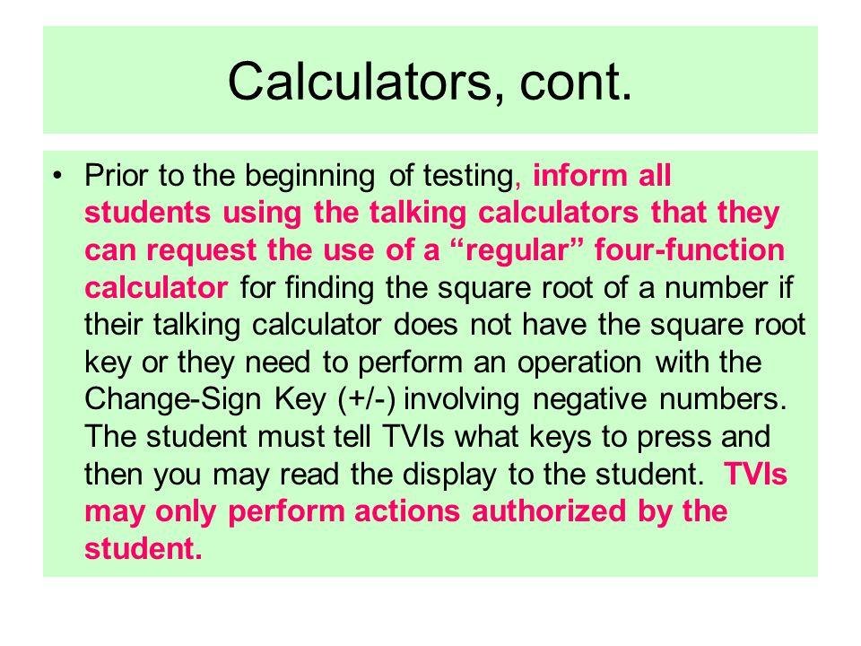 Calculators, cont.