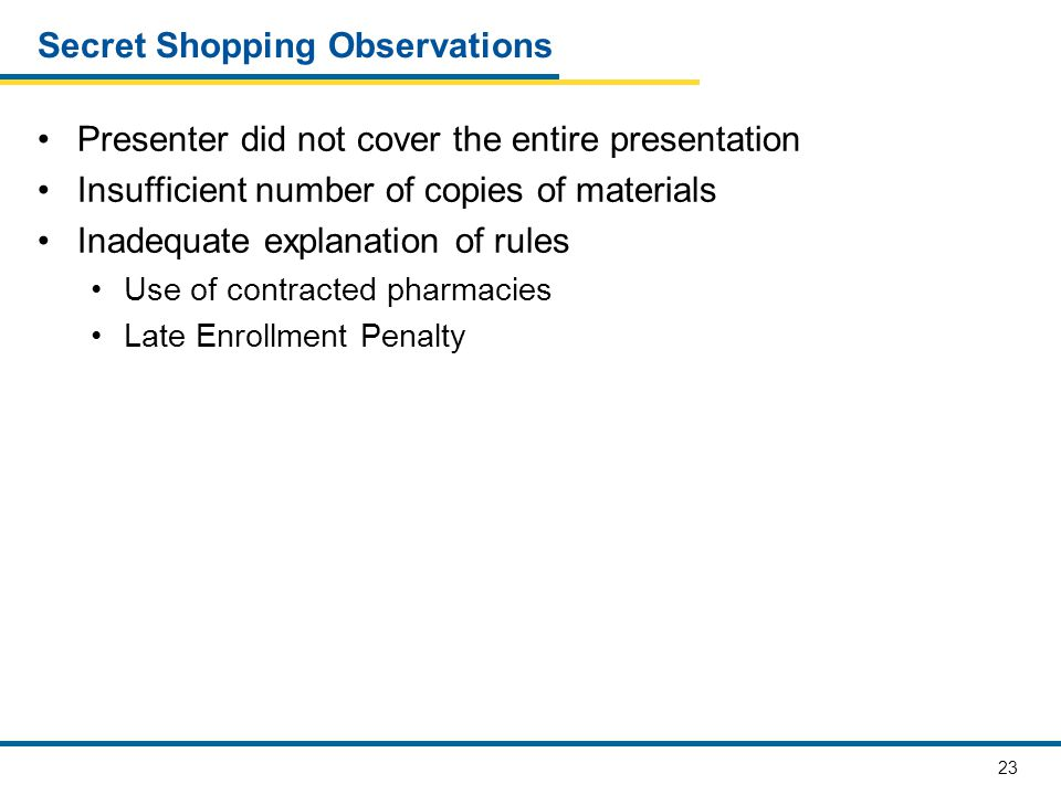23 Secret Shopping Observations Presenter did not cover the entire presentation Insufficient number of copies of materials Inadequate explanation of rules Use of contracted pharmacies Late Enrollment Penalty