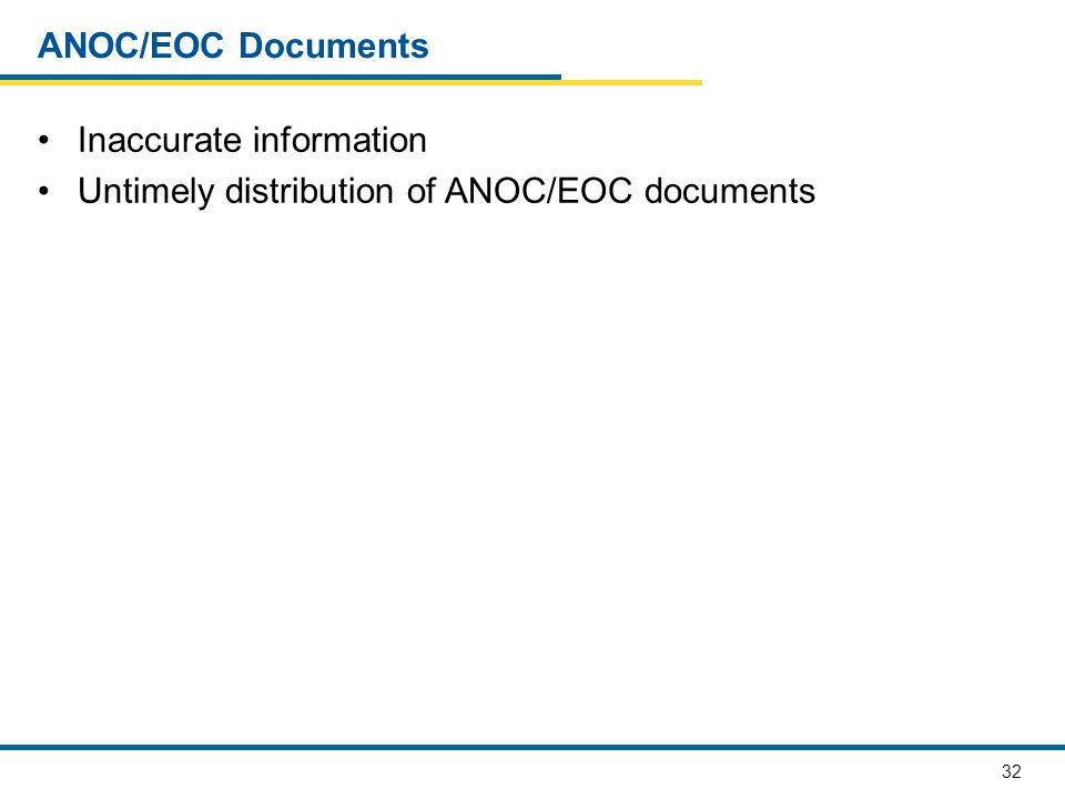 32 ANOC/EOC Documents Inaccurate information Untimely distribution of ANOC/EOC documents