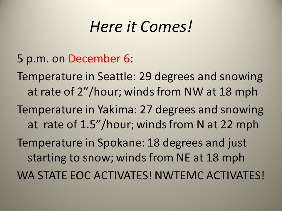"Here it Comes! 5 p.m. on December 6: Temperature in Seattle: 29 degrees and snowing at rate of 2""/hour; winds from NW at 18 mph Temperature in Yakima:"