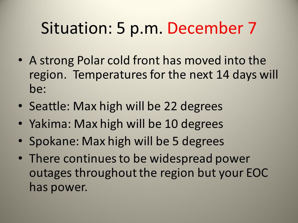Situation: 5 p.m. December 7 A strong Polar cold front has moved into the region. Temperatures for the next 14 days will be: Seattle: Max high will be