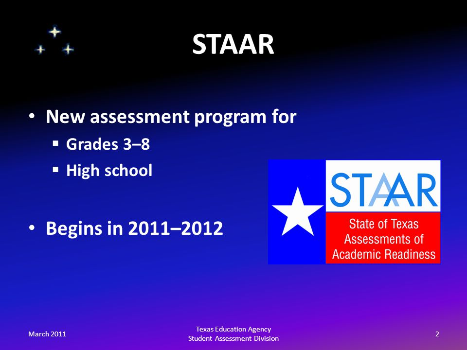 March 201153 Texas Education Agency Student Assessment Division Sign-up for listserv at http://miller.tea.state.tx.us/list/index.html http://miller.tea.state.tx.us/list/index.html Contact us by e-mail at student.assessment@tea.state.tx.usstudent.assessment@tea.state.tx.us Contact us by phone at 512-463-9536 For More Information…