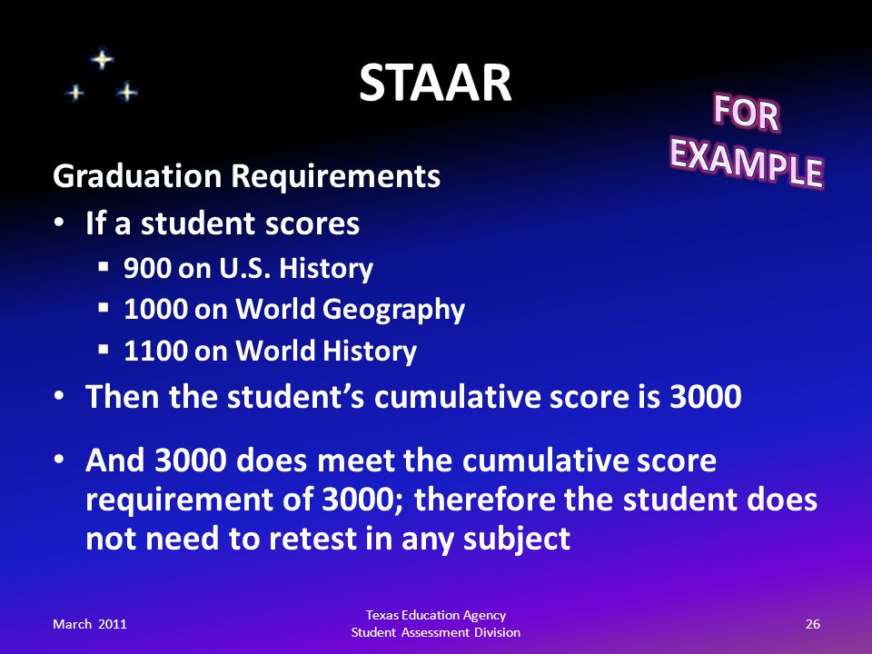 STAAR March 201126 Texas Education Agency Student Assessment Division Graduation Requirements If a student scores  900 on U.S.