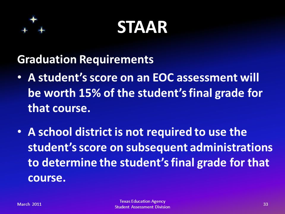 STAAR March 201133 Texas Education Agency Student Assessment Division Graduation Requirements A student's score on an EOC assessment will be worth 15% of the student's final grade for that course.