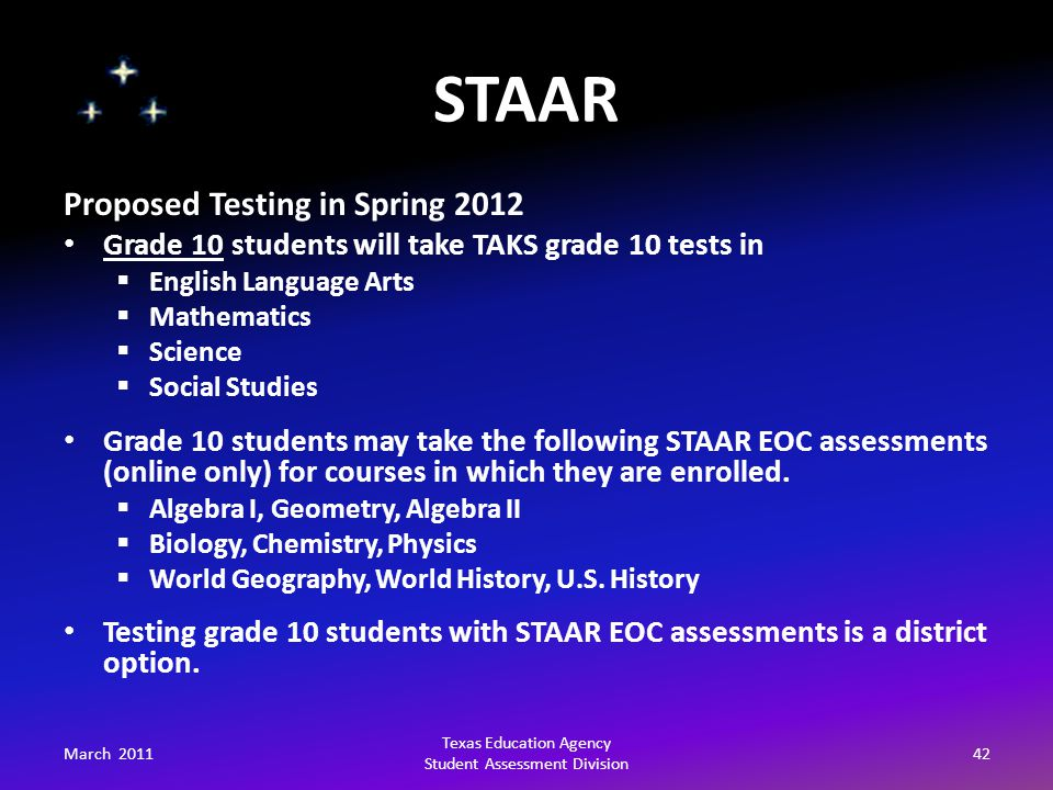STAAR March 201142 Texas Education Agency Student Assessment Division Proposed Testing in Spring 2012 Grade 10 students will take TAKS grade 10 tests in  English Language Arts  Mathematics  Science  Social Studies Grade 10 students may take the following STAAR EOC assessments (online only) for courses in which they are enrolled.