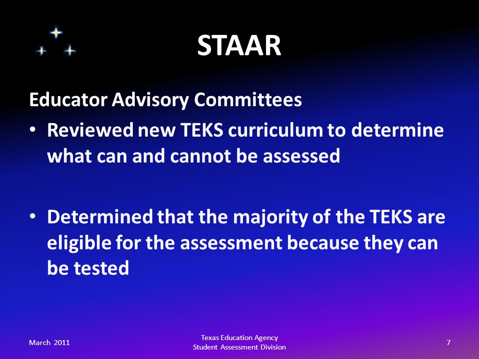 STAAR March 201128 Texas Education Agency Student Assessment Division Graduation Requirements For students on the minimum high school program, the cumulative score requirement may vary by subject area from 1 to 3 required assessments.