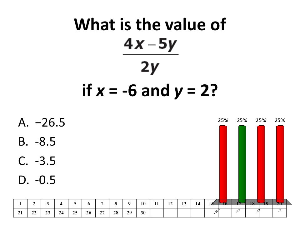 What is the value of if x = -6 and y = 2.