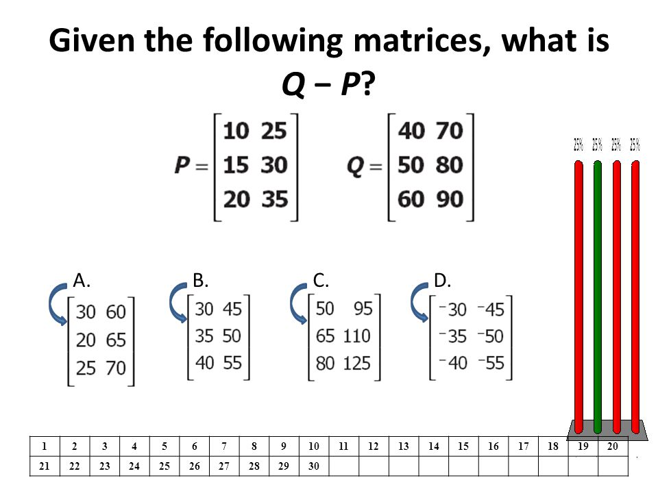 Given the following matrices, what is Q − P.