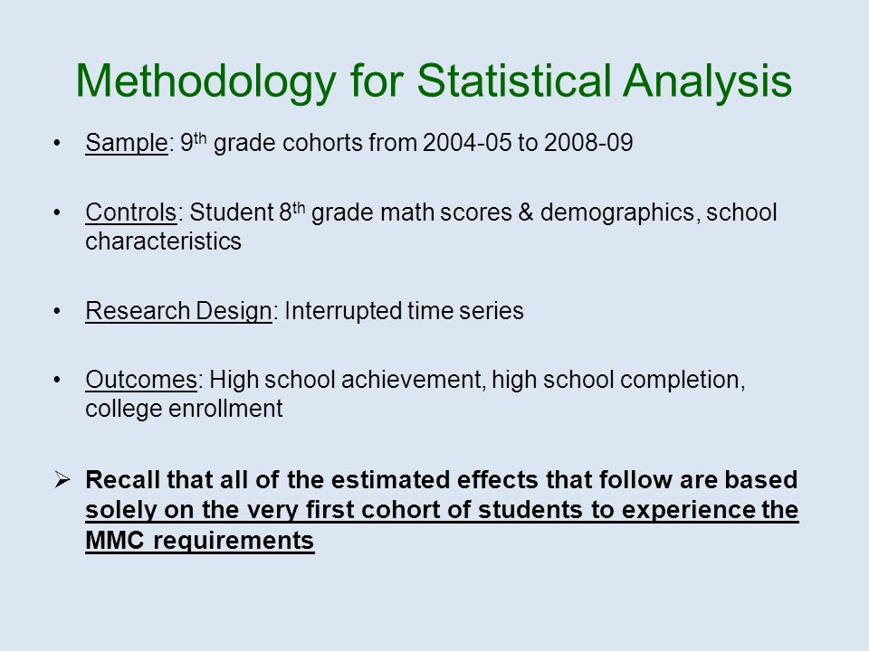 Methodology for Statistical Analysis Sample: 9 th grade cohorts from 2004-05 to 2008-09 Controls: Student 8 th grade math scores & demographics, school characteristics Research Design: Interrupted time series Outcomes: High school achievement, high school completion, college enrollment  Recall that all of the estimated effects that follow are based solely on the very first cohort of students to experience the MMC requirements