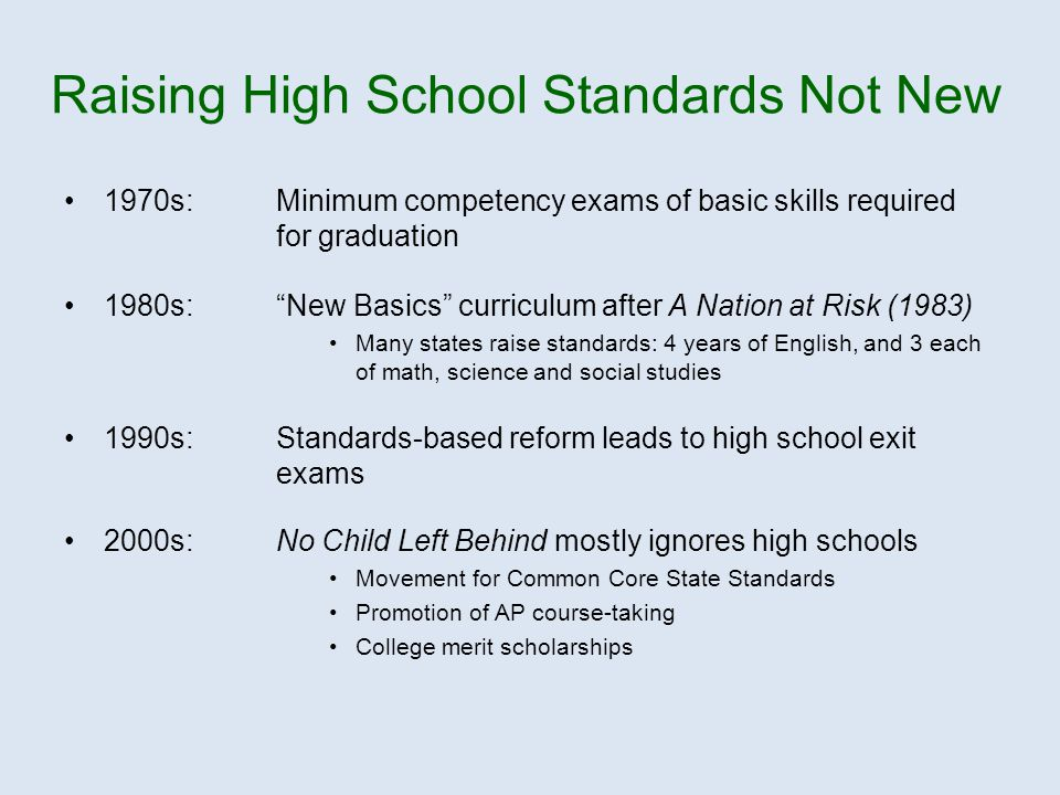1970s:Minimum competency exams of basic skills required for graduation 1980s: New Basics curriculum after A Nation at Risk (1983) Many states raise standards: 4 years of English, and 3 each of math, science and social studies 1990s: Standards-based reform leads to high school exit exams 2000s:No Child Left Behind mostly ignores high schools Movement for Common Core State Standards Promotion of AP course-taking College merit scholarships Raising High School Standards Not New