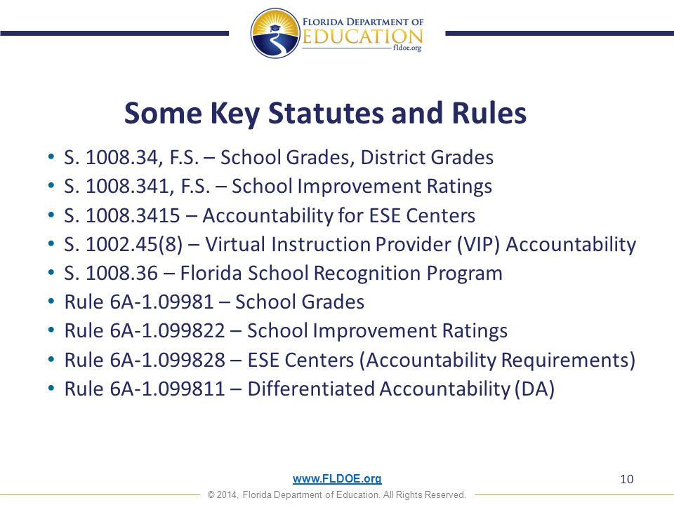 www.FLDOE.org © 2014, Florida Department of Education. All Rights Reserved. Some Key Statutes and Rules S. 1008.34, F.S. – School Grades, District Gra