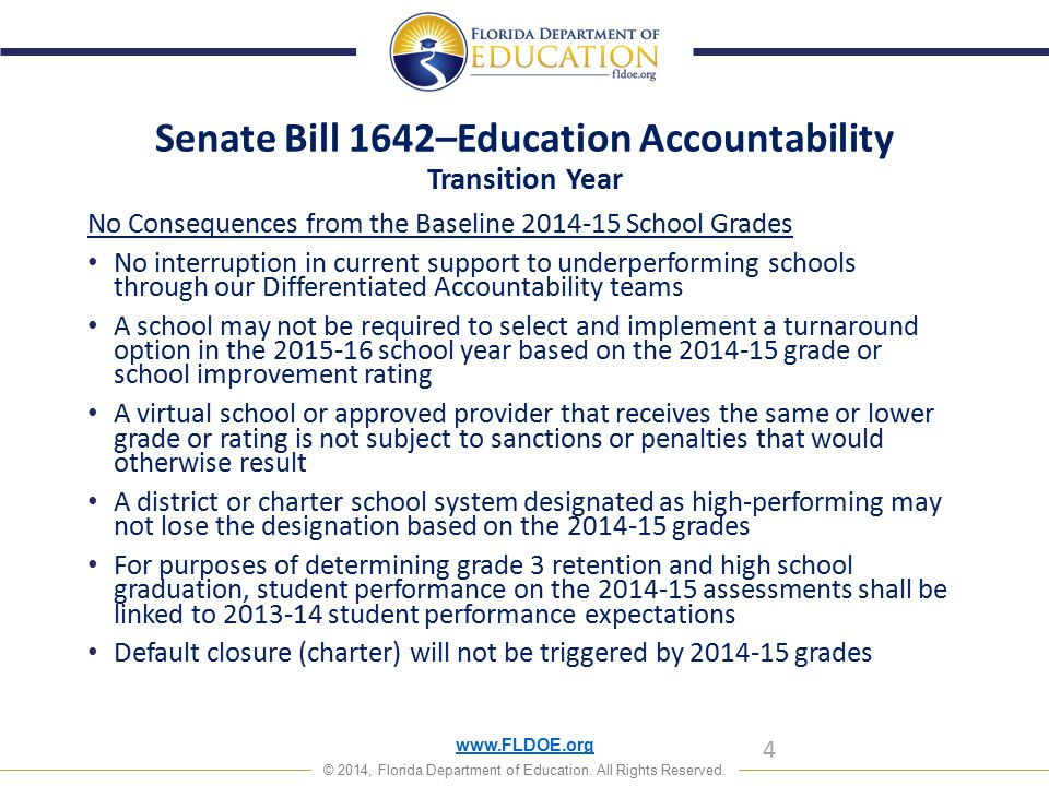 www.FLDOE.org © 2014, Florida Department of Education. All Rights Reserved. Senate Bill 1642–Education Accountability Transition Year No Consequences