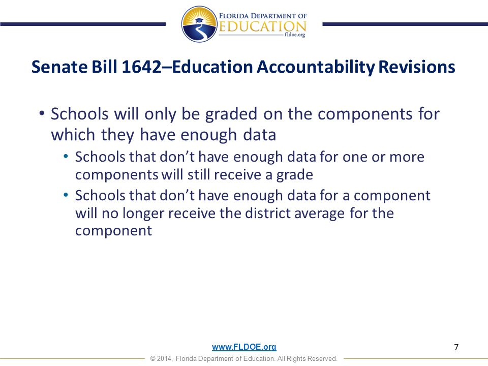 www.FLDOE.org © 2014, Florida Department of Education. All Rights Reserved. Senate Bill 1642–Education Accountability Revisions Schools will only be g