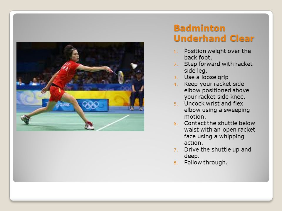 Badminton Short Serve 1.Use a forehand grip on racket and serve grip on shuttle.