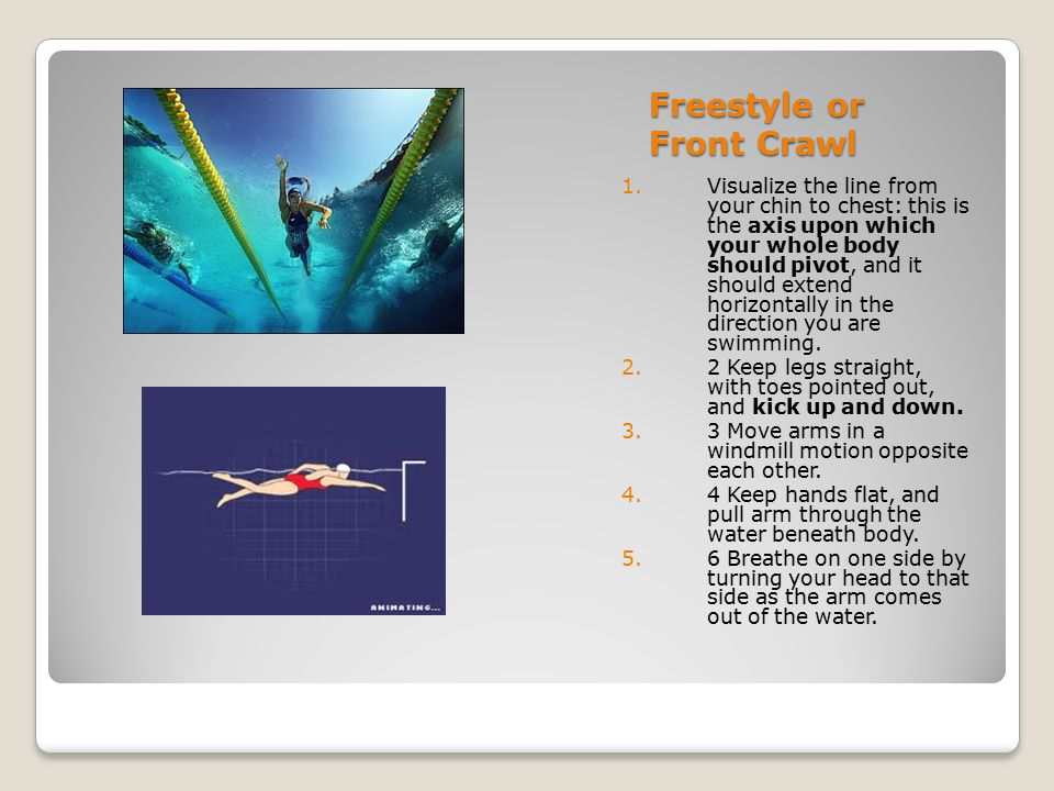 Freestyle or Front Crawl 1.Visualize the line from your chin to chest: this is the axis upon which your whole body should pivot, and it should extend
