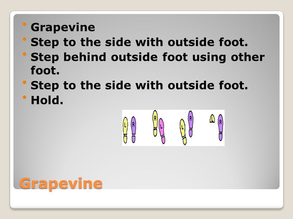 Grapevine Grapevine Step to the side with outside foot. Step behind outside foot using other foot. Step to the side with outside foot. Hold.
