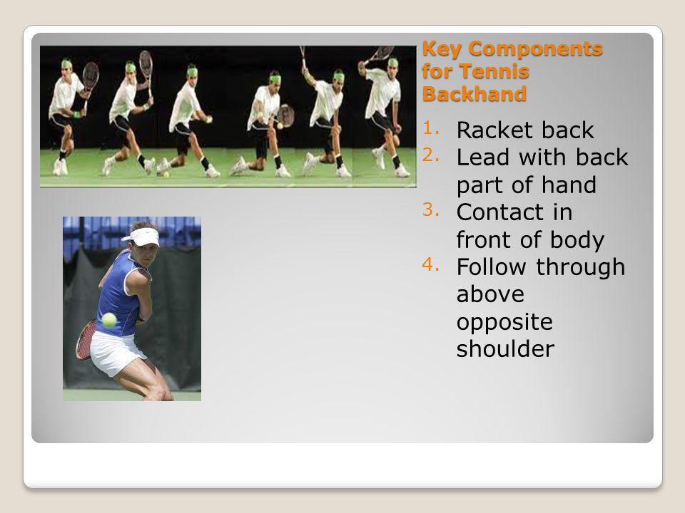 Tennis Serve 1.Face sideways with feet shoulder width apart.