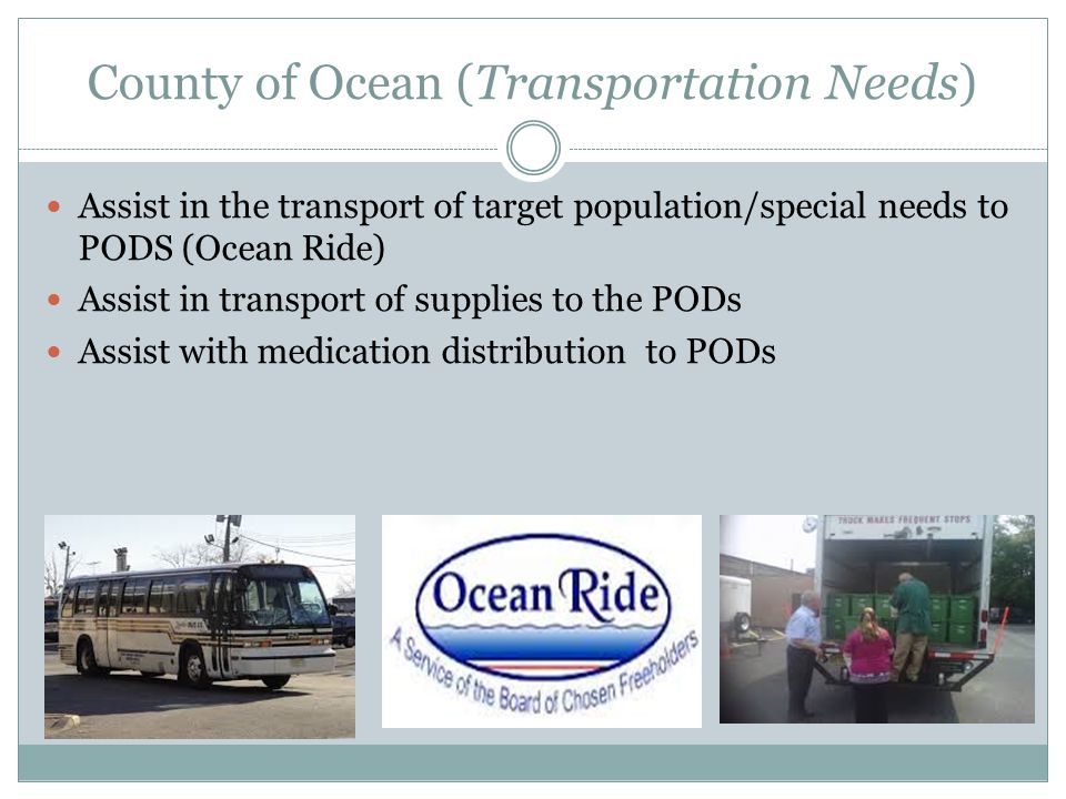County of Ocean (Transportation Needs) Assist in the transport of target population/special needs to PODS (Ocean Ride) Assist in transport of supplies