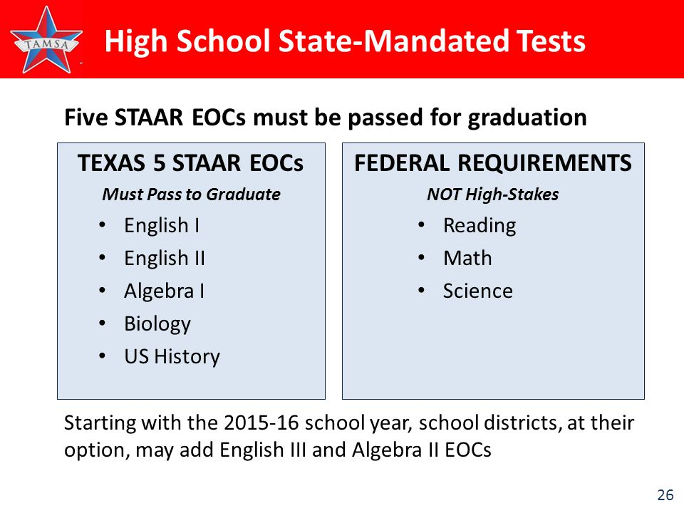 26 High School State-Mandated Tests TEXAS 5 STAAR EOCs Must Pass to Graduate English I English II Algebra I Biology US History FEDERAL REQUIREMENTS NOT High-Stakes Reading Math Science Five STAAR EOCs must be passed for graduation Starting with the 2015-16 school year, school districts, at their option, may add English III and Algebra II EOCs