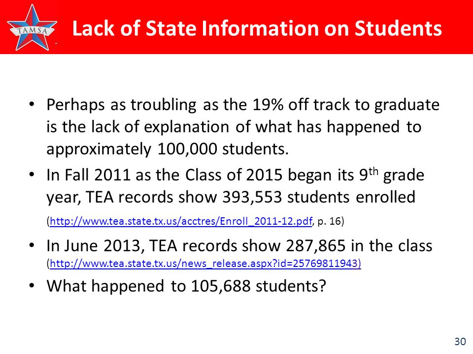 30 Lack of State Information on Students Perhaps as troubling as the 19% off track to graduate is the lack of explanation of what has happened to approximately 100,000 students.