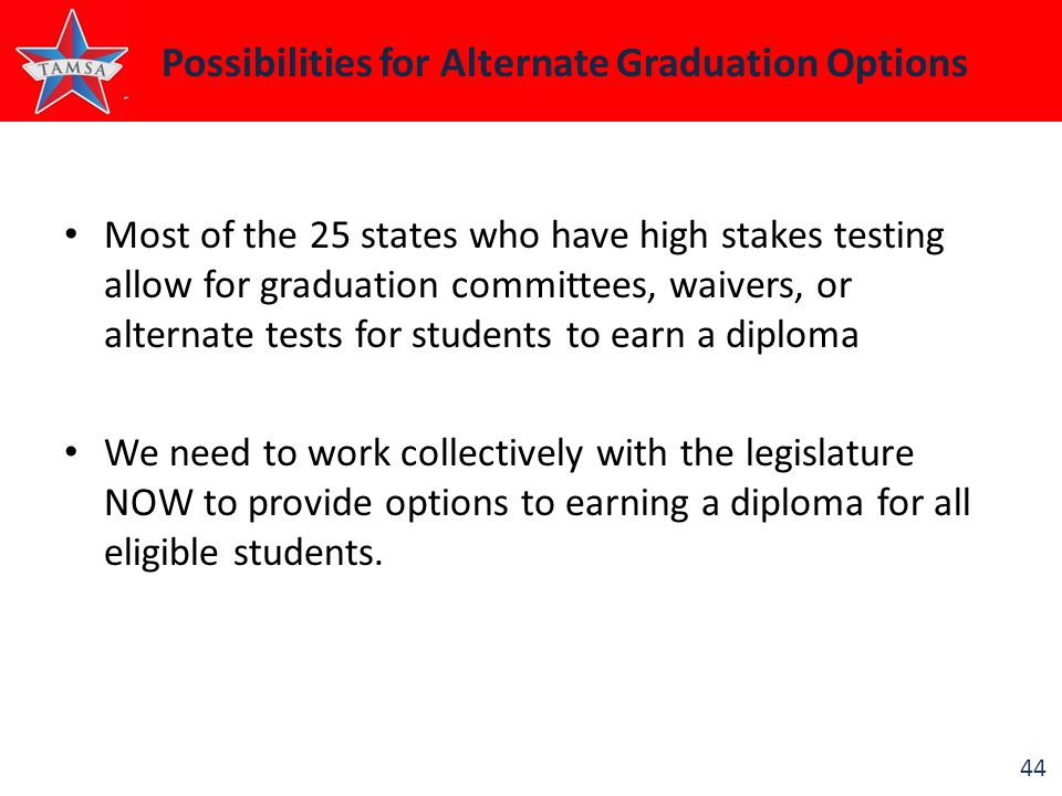 44 Possibilities for Alternate Graduation Options Most of the 25 states who have high stakes testing allow for graduation committees, waivers, or alte