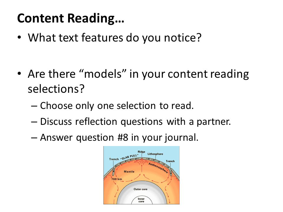 Content Reading… What text features do you notice.