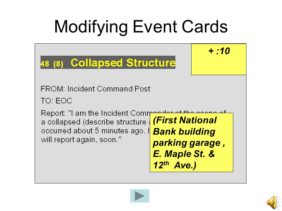 Modifying Event Cards (First National Bank building parking garage, E.