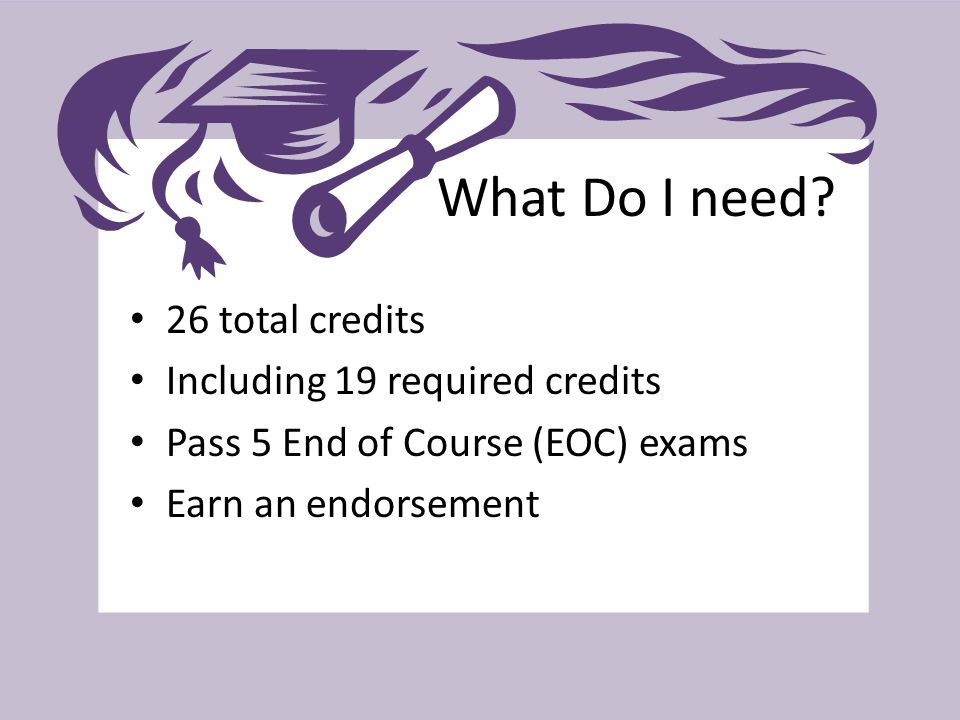 What Do I need? 26 total credits Including 19 required credits Pass 5 End of Course (EOC) exams Earn an endorsement