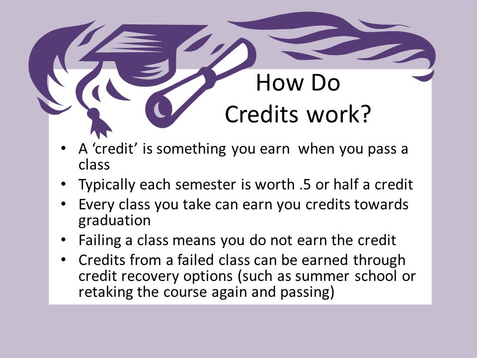 How Do Credits work? A 'credit' is something you earn when you pass a class Typically each semester is worth.5 or half a credit Every class you take c