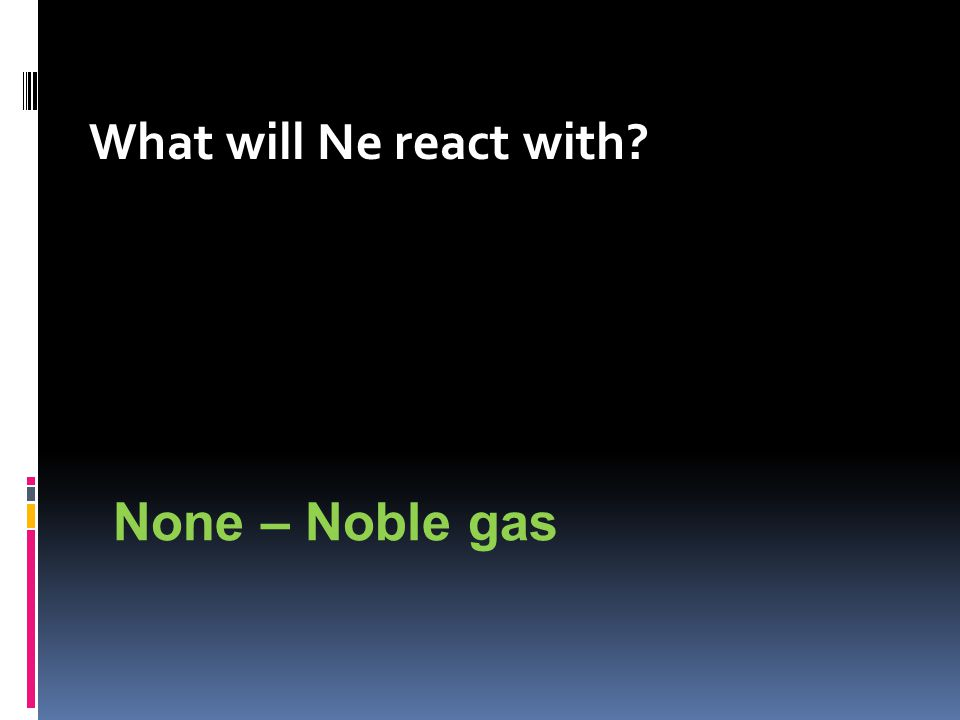 What will Ne react with None – Noble gas