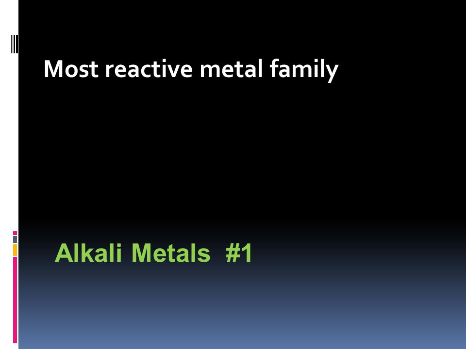 Most reactive metal family Alkali Metals #1