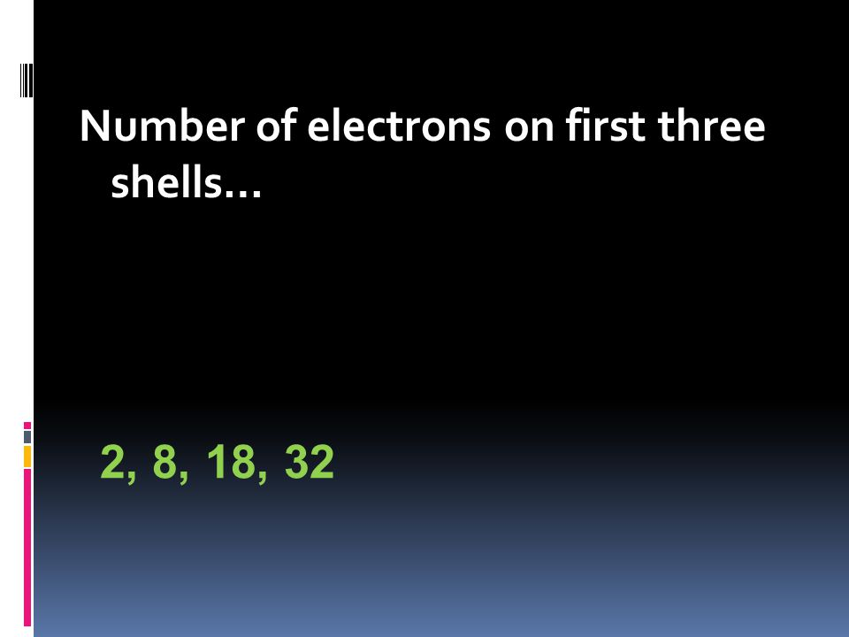 Number of electrons on first three shells… 2, 8, 18, 32