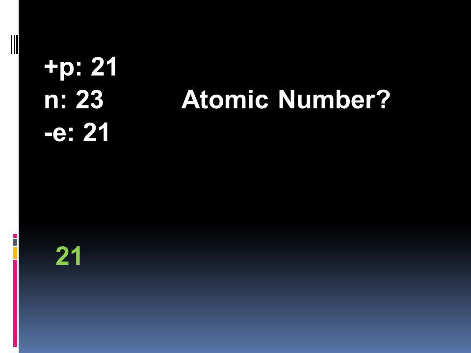+p: 21 n: 23Atomic Number? -e: 21 21