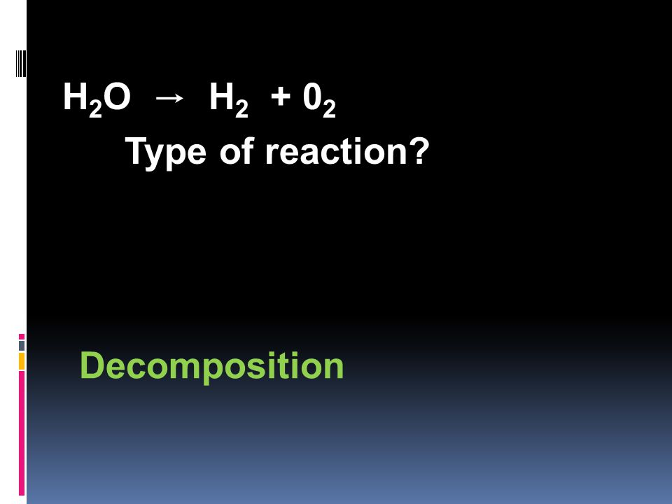 H 2 O → H 2 + 0 2 Type of reaction Decomposition