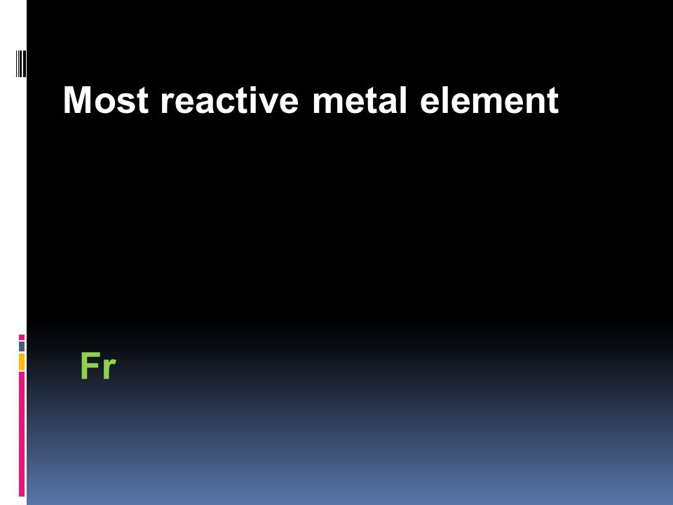 Most reactive metal element Fr