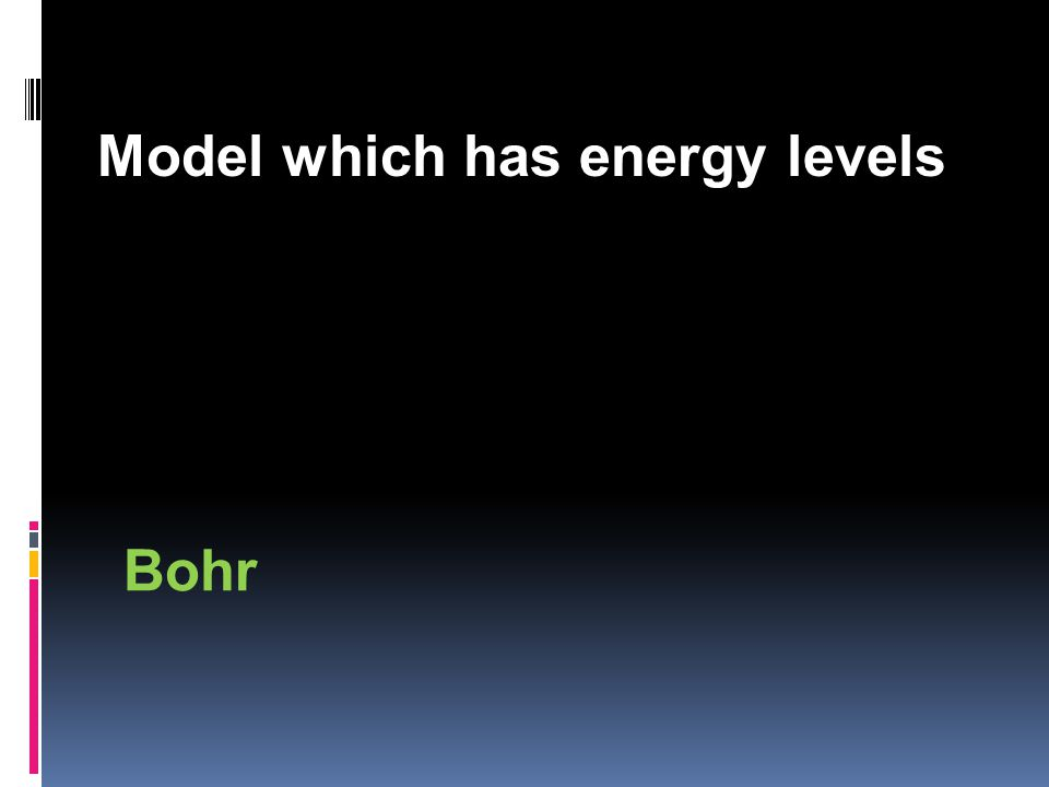 Model which has energy levels Bohr