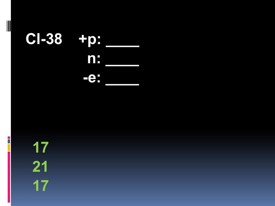 Cl-38+p: ____ n: ____ -e: ____ 17 21 17