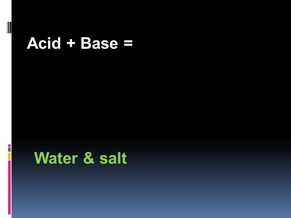 Acid + Base = Water & salt