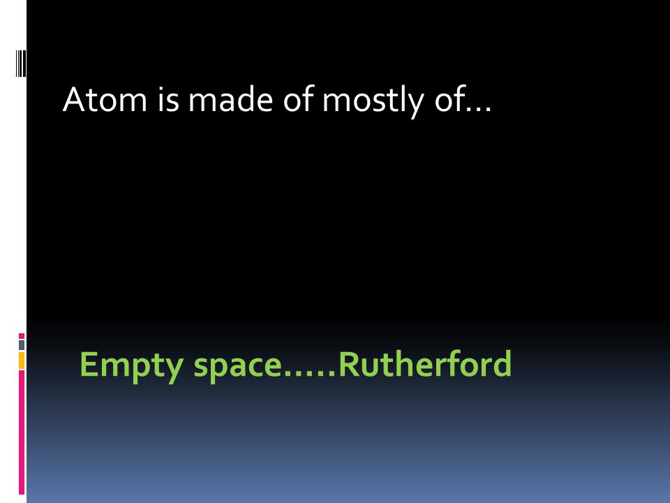 Atom is made of mostly of… Empty space…..Rutherford