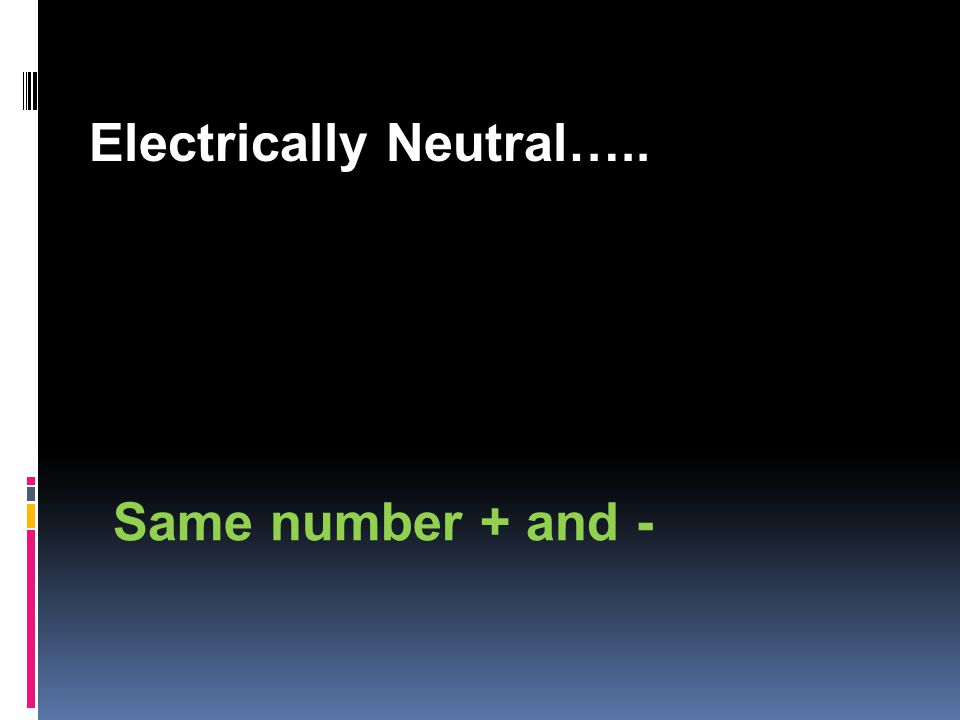 Electrically Neutral….. Same number + and -