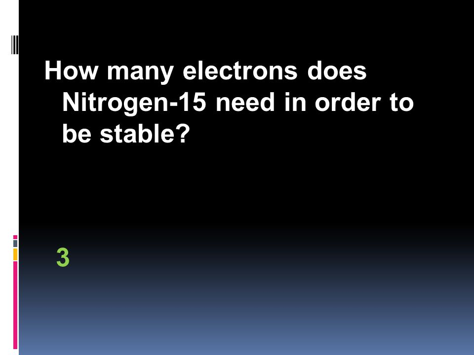How many electrons does Nitrogen-15 need in order to be stable 3