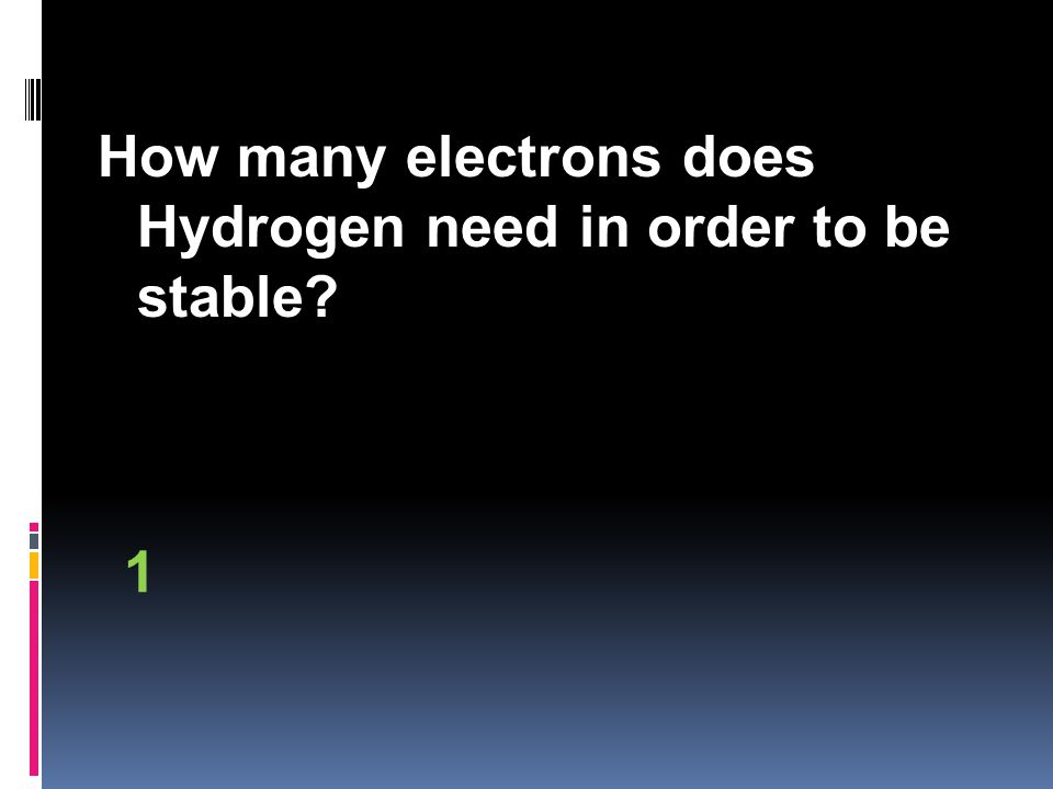How many electrons does Hydrogen need in order to be stable 1