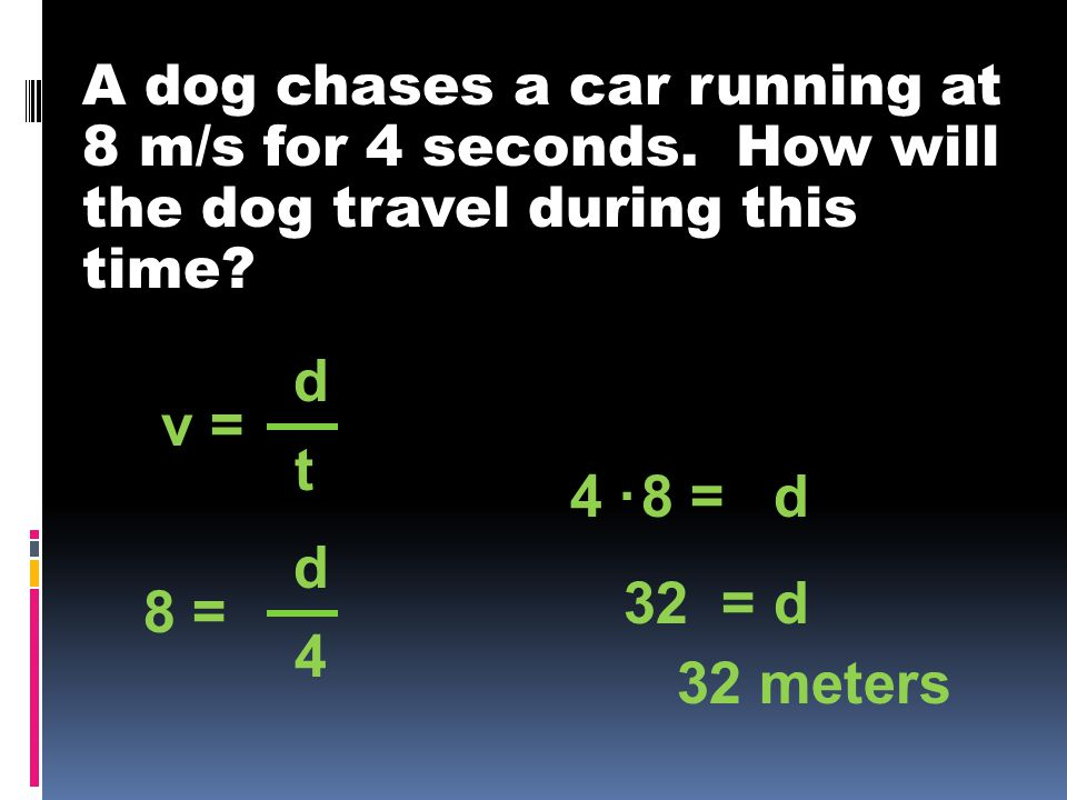 A dog chases a car running at 8 m/s for 4 seconds.