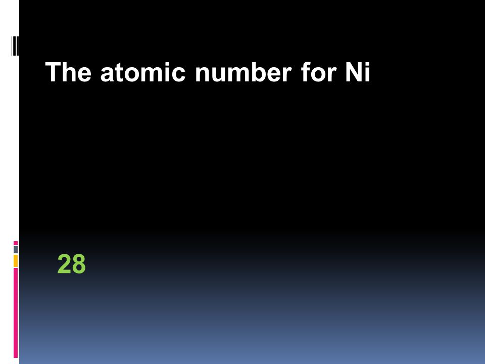 The atomic number for Ni 28