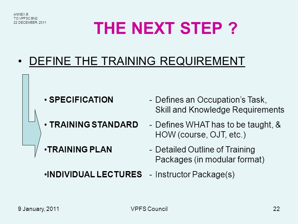 ANNEX B TO VPFSC BN2 22 DECEMBER, 2011 9 January, 2011VPFS Council22 THE NEXT STEP ? DEFINE THE TRAINING REQUIREMENT SPECIFICATION-Defines an Occupati
