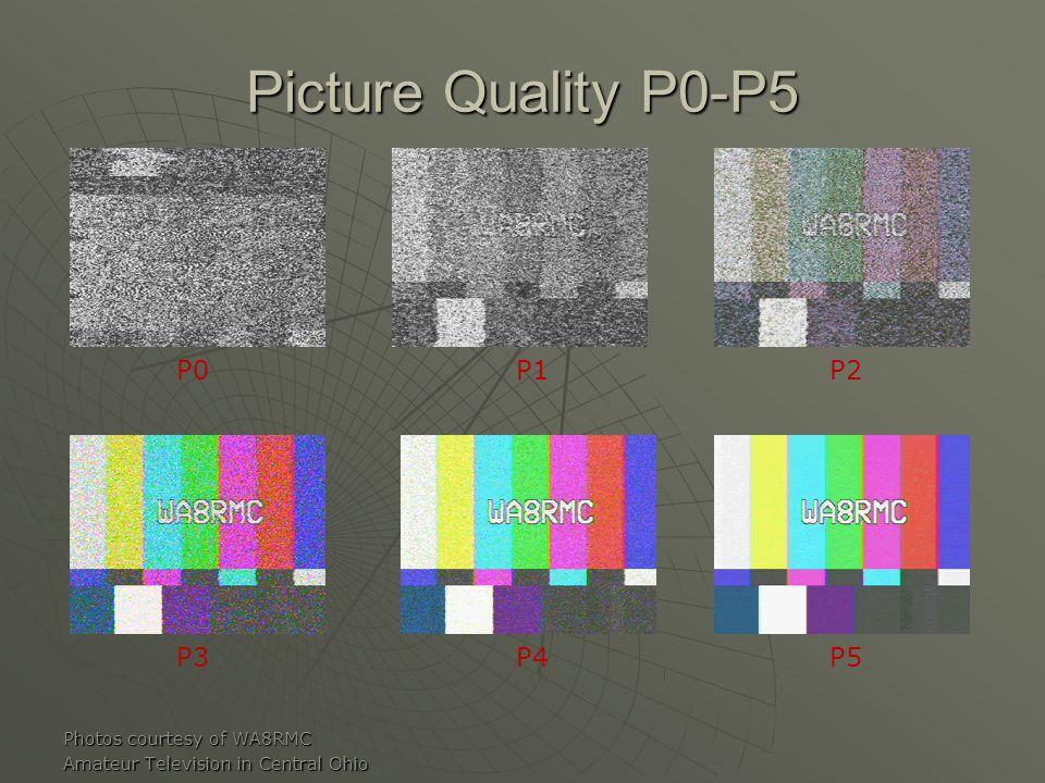 Picture Quality P0-P5 Photos courtesy of WA8RMC Amateur Television in Central Ohio P0P1P2 P3P4P5