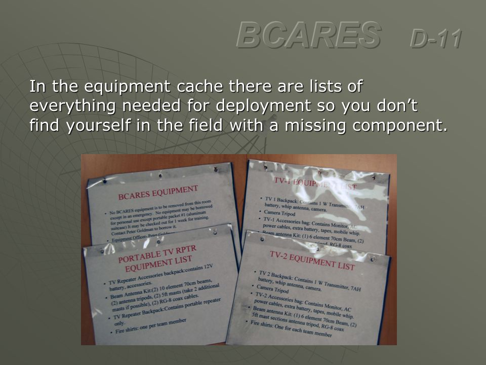 In the equipment cache there are lists of everything needed for deployment so you don't find yourself in the field with a missing component.