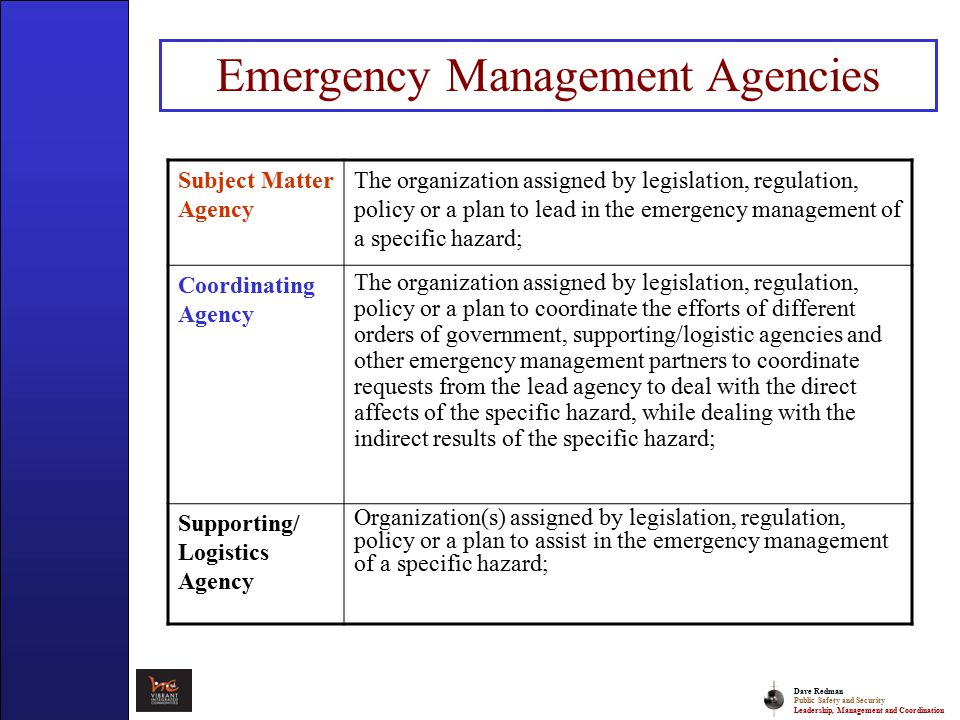 Dave Redman Public Safety and Security Leadership, Management and Coordination Presentation Overview Emergency Management Framework – EM 101 An integrated Emergency Management Operating System Discussion